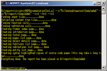 ASP Documentation Tool running from the command line